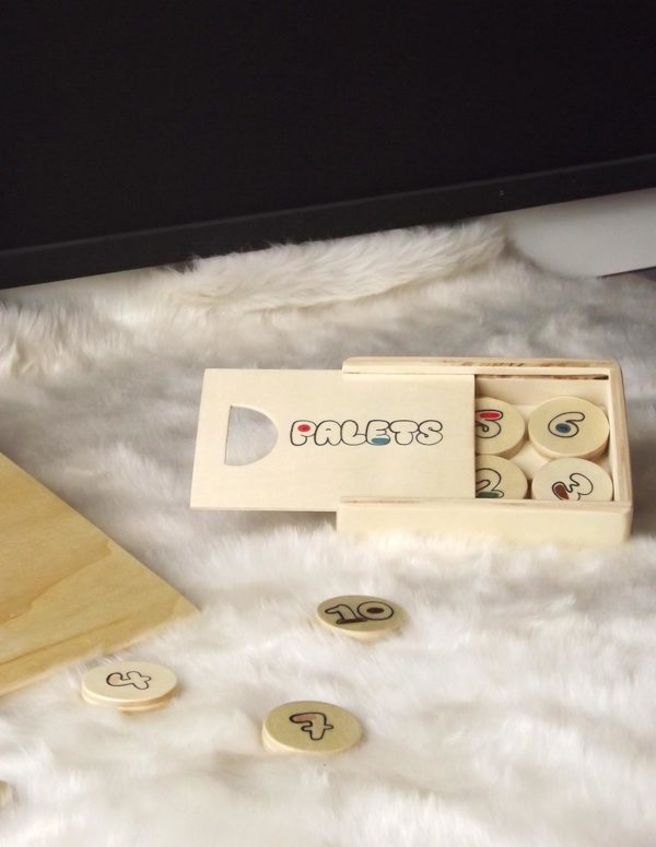 Boîte de rangement de 12 palets en bois de peuplier et un palet maître pour le jeu de palets pour enfant