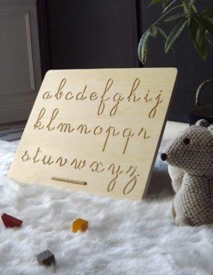 Jeu alphabet avec la face minuscule et son crayon en bois