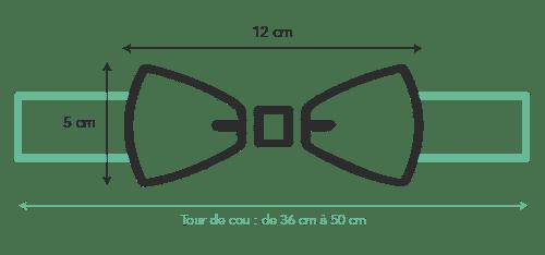 Schéma correspondant à la taille du noeud papillon bois homme : 12 cm de large et 5 cm de hauteur
